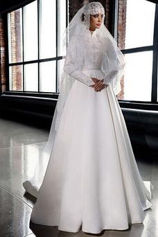 Vestido de novia Manga larga Otoño Alto cubierto Clasicos Apliques Corte-A