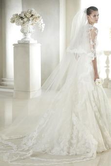 Vestido de novia Con velo primavera Manga de longitud 3/4 Encaje Encaje