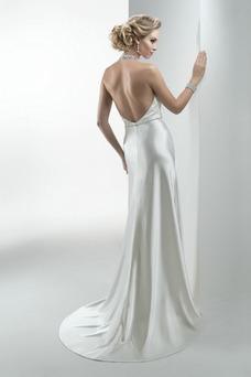 Vestido de novia Corte Recto Sin mangas Apliques Satén largo Natural