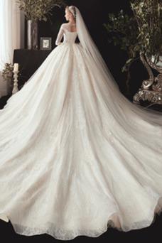 Vestido de novia Invierno Cola Catedral Capa de encaje Corte-A Pera