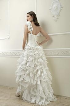 Vestido de novia Corte-A Cintura Baja Botón Satén Un sólo hombro Alto Bajo