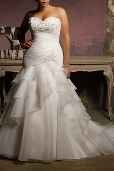 Vestido de novia Corte Sirena Cintura Baja Sala Cola Capilla Escote Corazón