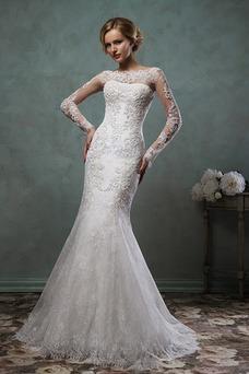 Vestido de novia Corte Sirena Natural Barco Apliques Otoño Alto cubierto