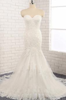 Vestido de novia Natural Apliques Capa de encaje Invierno tul Moderno