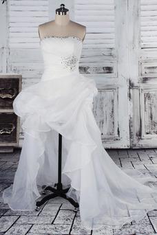 Vestido de novia Fuera de casa Exclusivo Plisado Asimétrico Dobladillo