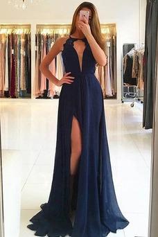 Vestido de fiesta Corte-A Moderno Abertura en el muslo Natural Escote en V
