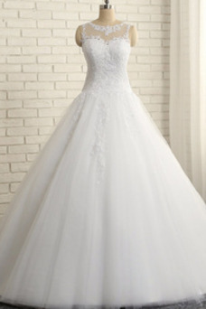 Vestido de novia Invierno Sin mangas Elegante Natural Corte-A Tallas grandes