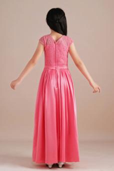 Vestido niña ceremonia Corte-A Encaje Elegante Otoño Encaje Capa de encaje