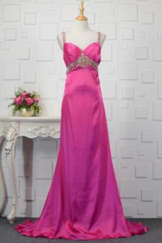 Vestido de fiesta primavera Satén Elástico Espalda Descubierta Plisado