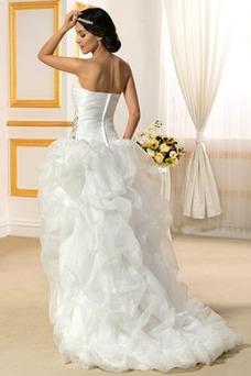 Vestido de novia Sin tirantes Triángulo Invertido Asimètrico Espalda Descubierta