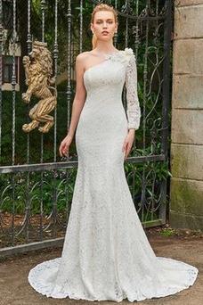 Vestido de novia Verano Un tirante con flor Corte Recto Encaje Espalda medio descubierto