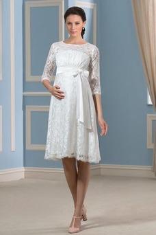 Vestido de novia Embarazadas Verano Fuera de casa Imperio Cintura Encaje
