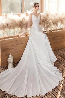 Vestido de novia Sin mangas Natural Apliques largo Triángulo Invertido
