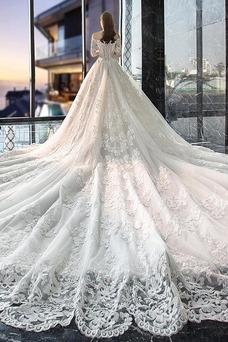 Vestido de novia Cola Real Apliques Sala Capa de encaje Natural Corte-A