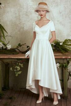 Vestido de novia Glamouroso Camiseta Alto Bajo Natural Escote en V Satén