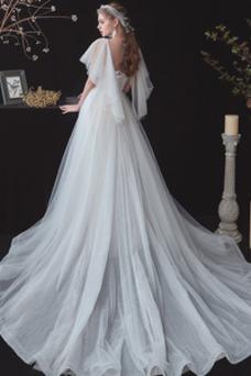 Vestido de novia Cola Barriba Cordón Natural Manga corta tul Manga suelta