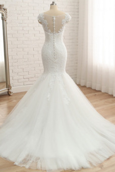 Vestido de novia Apliques Verano Capa de encaje Encaje Escote en V Cremallera