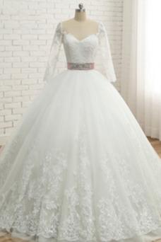 Vestido de novia Lazos Verano Queen Anne Encaje Manga de longitud 3/4