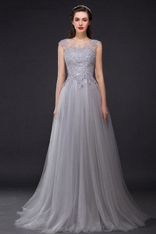 Vestido de noche Elegante Natural Encaje Corte-A Corpiño Acentuado con Perla