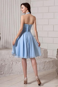 Vestido de dama de honor Manzana Sencillo Natural Windsor azul Hasta la Rodilla