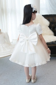 Vestido niña ceremonia Lazos Corte-A Natural Hasta la Rodilla Verano Arco Acentuado