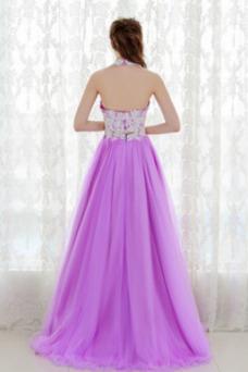 Vestido de fiesta primavera Joya Corte-A Pera Capa de encaje Natural