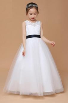 Vestido niña ceremonia Hasta el Tobillo Joya Sin mangas Corte-A Falta Arco Acentuado