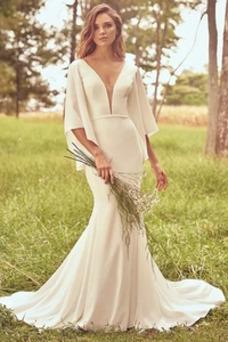 Vestido de novia Corte Sirena Manga corta Satén Botón Manga suelta Cola Barriba