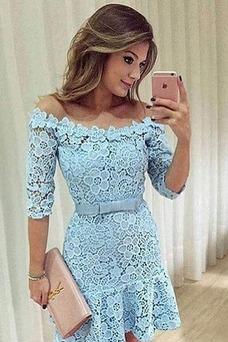 Vestido de cóctel Arco Acentuado Encaje Camiseta Otoño sexy Corte Recto