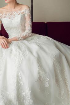 Vestido de novia Escote con Hombros caídos Corte-A Verano Encaje Manga larga