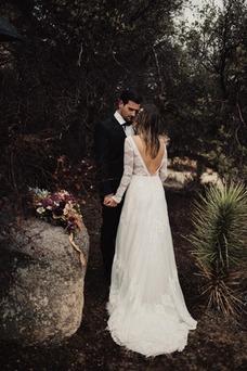 Vestido de novia Encaje Barco Otoño Falta Elegante Hasta el suelo