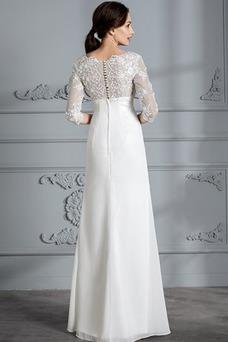Vestido de novia Gasa Manga de longitud 3/4 Falta Verano Corte-A Capa de encaje