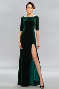 Vestido de noche Elegante Corte-A Camiseta Natural Hasta el suelo Frontal Dividida