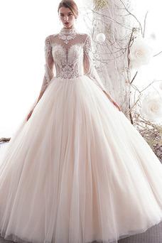Vestido de novia Elegante Natural Falta Abalorio Corte-A Transparente