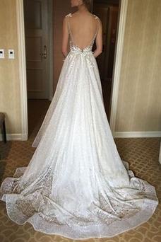 Vestido de novia Verano Sin mangas Espalda Descubierta Barco Apliques