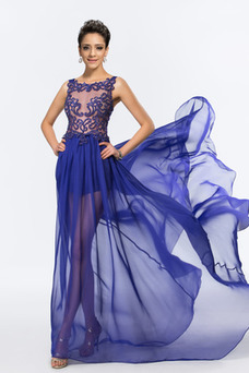 Vestido de fiesta sexy Transparente Gasa Abalorio Corte-A Barco