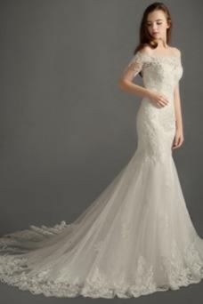 Vestido de novia Elegante Cremallera Escote con abertura Natural Encaje