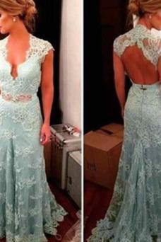 Vestido de fiesta largo Corte-A Espalda Descubierta Apliques Natural