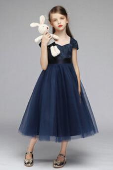 Vestido niña ceremonia Lazos Formal Hasta la Tibia Verano Natural Manga corta