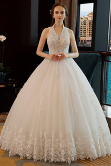 Vestido de novia Corte-A Drapeado Capa de encaje Sin mangas Natural