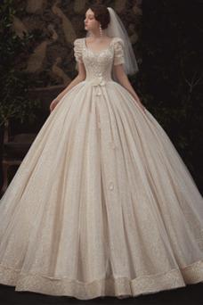 Vestido de novia Corpiño Acentuado con Perla Cordón Abalorio Camiseta