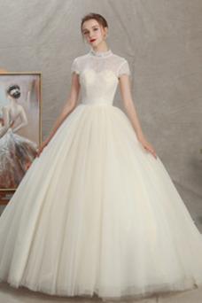 Vestido de novia Camiseta tul Natural Cordón Corte-A Escote con cuello Alto