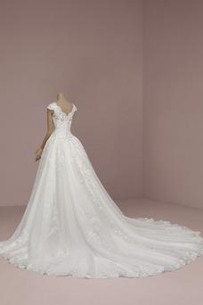 Vestido de novia Rectángulo Natural Hasta el suelo primavera Cremallera