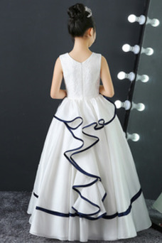 Vestido niña ceremonia Sin mangas Hasta el Tobillo Cremallera Falta Natural