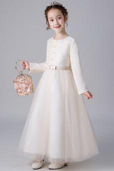 Vestido niña ceremonia Camiseta Formal Encaje Cremallera Corte-A Arco Acentuado