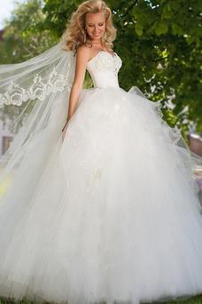 Vestido de novia Apliques Sala Con velo Escote Corazón Cintura Baja