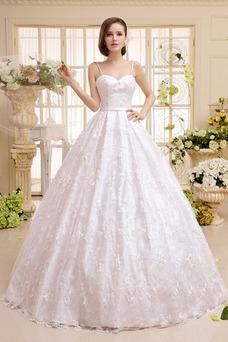 Vestido de novia Corte princesa Sin mangas Natural Cola Barriba Encaje