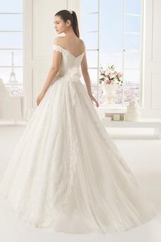 Vestido de novia largo Escote con Hombros caídos primavera Espalda Descubierta