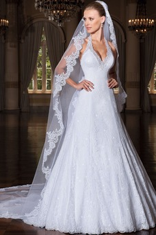 Vestido de novia Encaje largo tul Iglesia Espalda Descubierta Clasicos