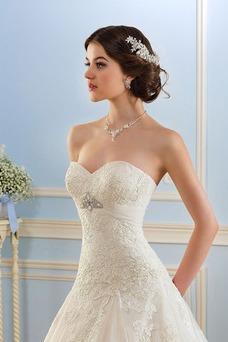 Vestido de novia Encaje Otoño Escote Corazón Cristal largo Corte-A
